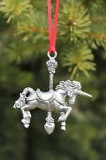 Hastings Pewter Co Lead Free Pewter Unicorn Ornament carousel fantasy gift - New
