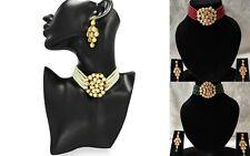 Indian Bridal Choker Necklace Set Kundan Pearls Wedding Bollywood Jewelry