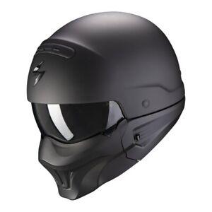 Scorpion EXO Combat EVO Solid Streetfighter Motorrad Jet Helm schwarz