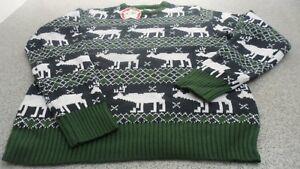 Genuine Star Men's Christmas Fair Isle Knit Jumper/ Knitwear, Navy/White/Green