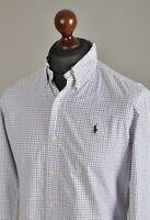 Men's RALPH LAUREN Casual Shirt Long Sleeve Cotton White Checked Size M