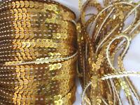 70 METER Pailletten Borte Spitze Gold waschbar 0,19€ /meter