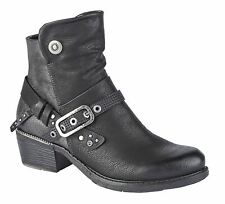 Ladies Womens Mid Block Heel Inside Zip Buckle Ankle Boots Shoes Size 3-8