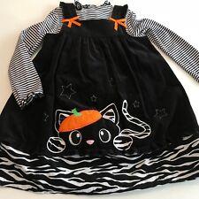 Bonnie Jean Little Girl Outfit Corduroy Jumper Dress Black Cat Halloween Size 6