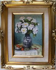 "Framed Oil Painting ""White Flowers in a Vase-3"" ( 9 x 11 inches)"