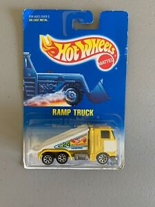 1991 Hot Wheels Blue Card # 187 RAMP TRUCK  Yellow Tow Truck  FREE SHIP
