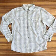 Columbia Omni Shade Mens XL Extra Large Tan Beige Plaid Check Roll Tab Shirt