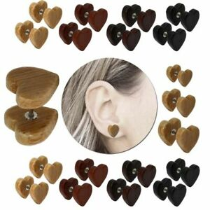 1 Pair of Wooden Earring Ear Ring Wood Timber Fake Plug Piercing Nature Heart