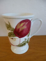 """American Atelier Porcelain Coffee Mug  Apples  Blossome Breeze   Footed  4 3/4"""""""