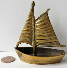 Vintage brass boat ashtray match striker cigarette rest salt cellar sailing ship