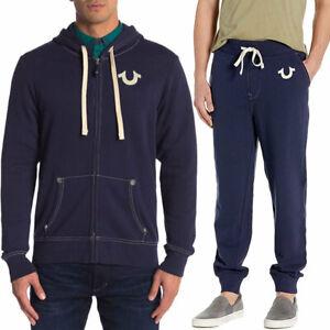 Mens Zip Hoodies Jogger True Religion Casual Hooded Navy Cotton Hoody Top Bottom