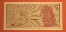 INDONESIA 5 SEN Banknotes 1964 UNC Currency Bill Note Paper Money