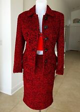 GIANNI VERSACE COUTURE red & black wool boucle skirt suit size 8, from fw 1995