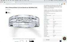 ct round cut 10k white gold size 8 $1200 Mens wedding band with 5 diamonds 1/4