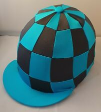 RIDING HAT COVER - TURQUOISE & GRAPHITE CHECK WITH BUTTON