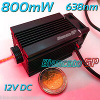 MODULO LASER 12V 638nm 800mW 0.8W PUNTO ROSSO diode module focusable red dot