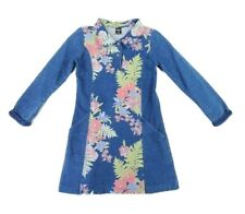 Mobaco Cottons Girl's Floral Blue Denim A-line Dress Size 4/6 Years
