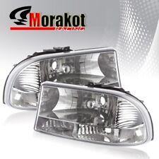 For 97-04 Dodge Dakota 1 Piece Clear Len Headlights Clear Reflector+ Bumper Lamp