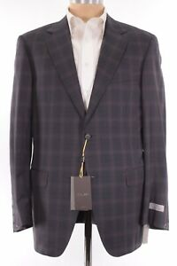 Canali Exclusive NWT Suit Sz 44R Charcoal W/ Bold Magenta Plaid 150s Wool $2,395