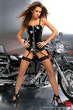 Sexy Corsetto nero in Pvc con tanga 'Agnes' Tg.38/44