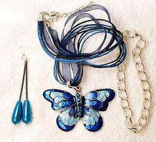 jewelry set new AQUA Cloisonne Butterfly pendant bracelet earrings silver tone