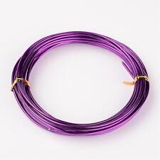 2mm Aluminio Craft floristería Alambre Fabricación de Joyas Violeta Púrpura Oscuro 3m longitudes