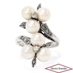 Estate Pearl 0.35ct Diamond 14K Gold Elegant Bypass Cocktail Ring 8.4 Grams NR