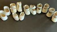 Vintage Doll Shoes Lot 6  Pr White /Beige Snap /boots/tie On /slip On