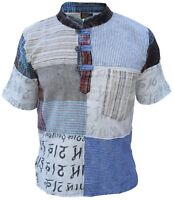 Mens Kathmandu Printed Patchwork Grandad Short Sleeve  Festival Kurta Shirt Top