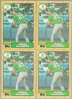 1987 Topps Mark Mcgwire #366 Lot of 4 Rookie Cards Oakland Athletics
