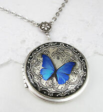 Vintage Silver Blue Butterfly Locket, Handmade Decorated Locket, Gift For Her.