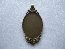 10 Antique Bronze 30x40mm Oval Cameo Cabochon Pendant Frame Setting Blanks Tray