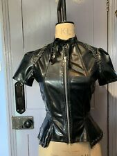 Black Latex Short Sleeved Top With Peplum With Safety Pin Detail Size Small