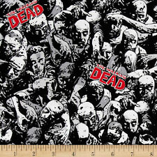 WALKING DEAD ZOMBIES PRINT 100% COTTON FABRIC BY THE 1/2 YARD