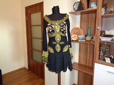 SAVAGE CULTURE STRETCH JERSEY EMBROIDERED BEADED FLORAL PANELED MINI SKATER DRES