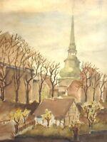J. Schmitz oder Schmidt - Aquarell 1946: Stadt am Fluss mit Kirche in Bayern