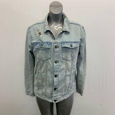 Elwood Blue Jean Jacket Women's Large Ripped Distressed Button UP Long Sleeve De