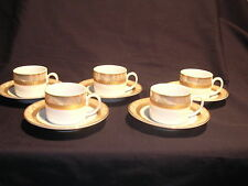 Casa Elite Design M.Valenti Italy Set of Five Cups and Saucer White and Gold