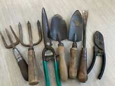 Lot Vtg 7 Garden Hand Tools wood handles Cast Wrought Iron Forged antique