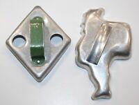 Vintage Cookie Cutters Green Handle Diamond & Santa