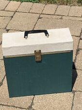 "Vintage 33 rpm record carrying case box 12"" album Storage Holder Green White"