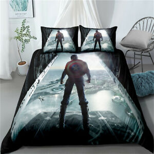 Captain America Single Double King Super King Bed Duvet Cover Set Quilt Covers