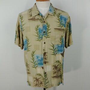 Trader Bay 100% Silk Beige & Blue Floral Short Sleeve Hawaiian Shirt Mens Size L