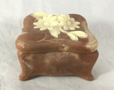 Vintage Incolay Carved Stone Trinket Box Jewelry Box Raised Relief Floral Design