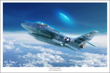 "F-84F Thunderstreak and UFO Aviation Art Print - 16"" x 24"""
