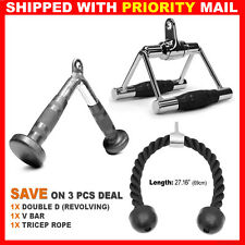 3 PCs Home Gym Attachments Tricep Rope Seated Row Handle Revolving V Curl Bar