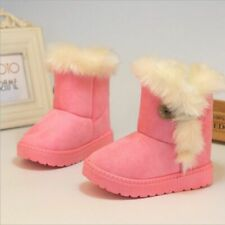Kid Baby Rubber Boots Suede Fur Snow Winter Warm Thick Plush Shoes Size 21 To 35