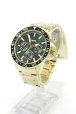Fossil BQ2493 Bannon Green Dial Gold-Tone Stainless Steel Bracelet Men's Chro...