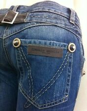FRANKIE MORELLO Women Jeans Caprice Cropped Pants Sz 27 ACTUAL 29 Leather Patch