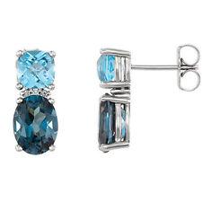 London Blue Topaz, Swiss Blue Topaz & Diamond Earrings In 14K White Gold